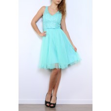 Cocktail dress with V-neck made of tulle R9095
